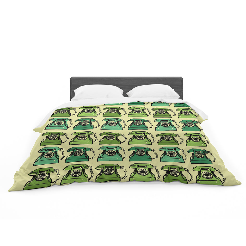 "Holly Helgeson ""Grandma's Telephone"" Green Yellow Featherweight Duvet Cover"