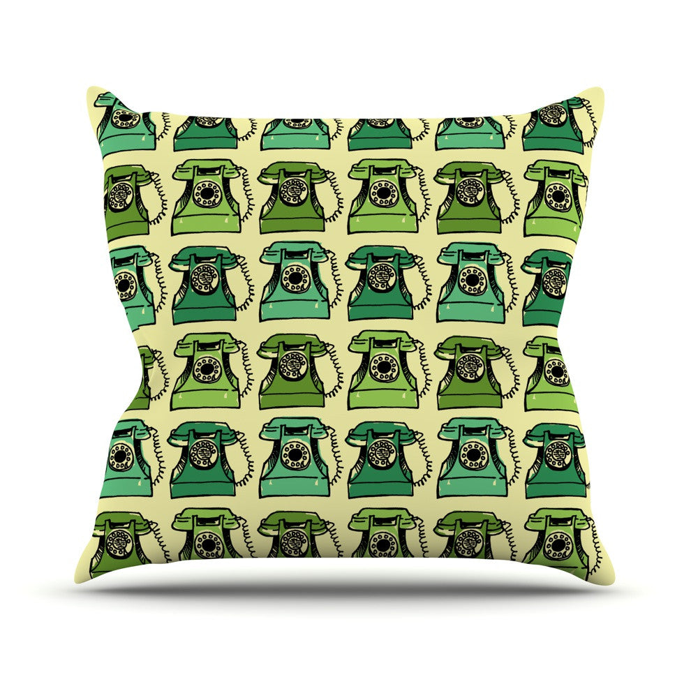 "Holly Helgeson ""Grandma's Telephone"" Green Yellow Outdoor Throw Pillow - KESS InHouse  - 1"