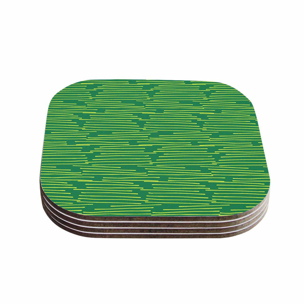 "Holly Helgeson ""Twiggy"" Green Line Coasters (Set of 4)"