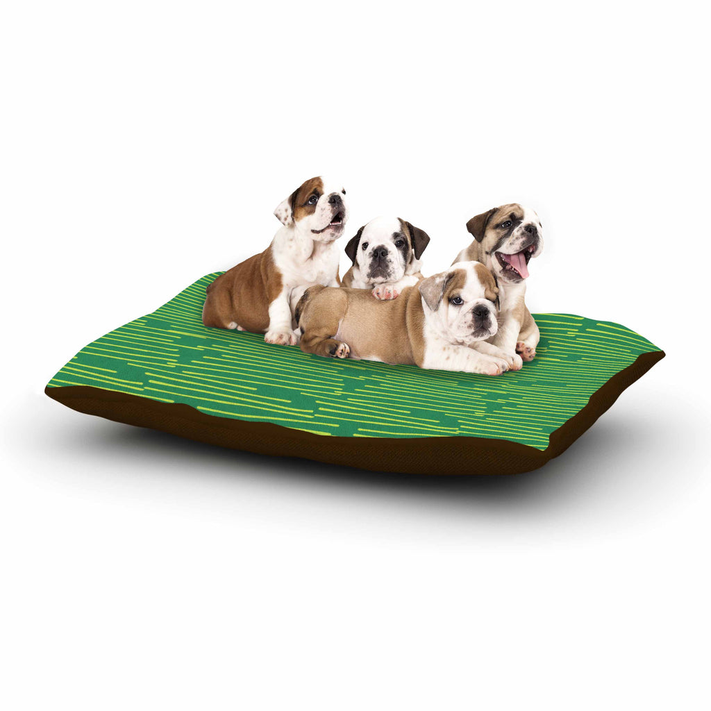"Holly Helgeson ""Twiggy"" Green Line Dog Bed - KESS InHouse  - 1"