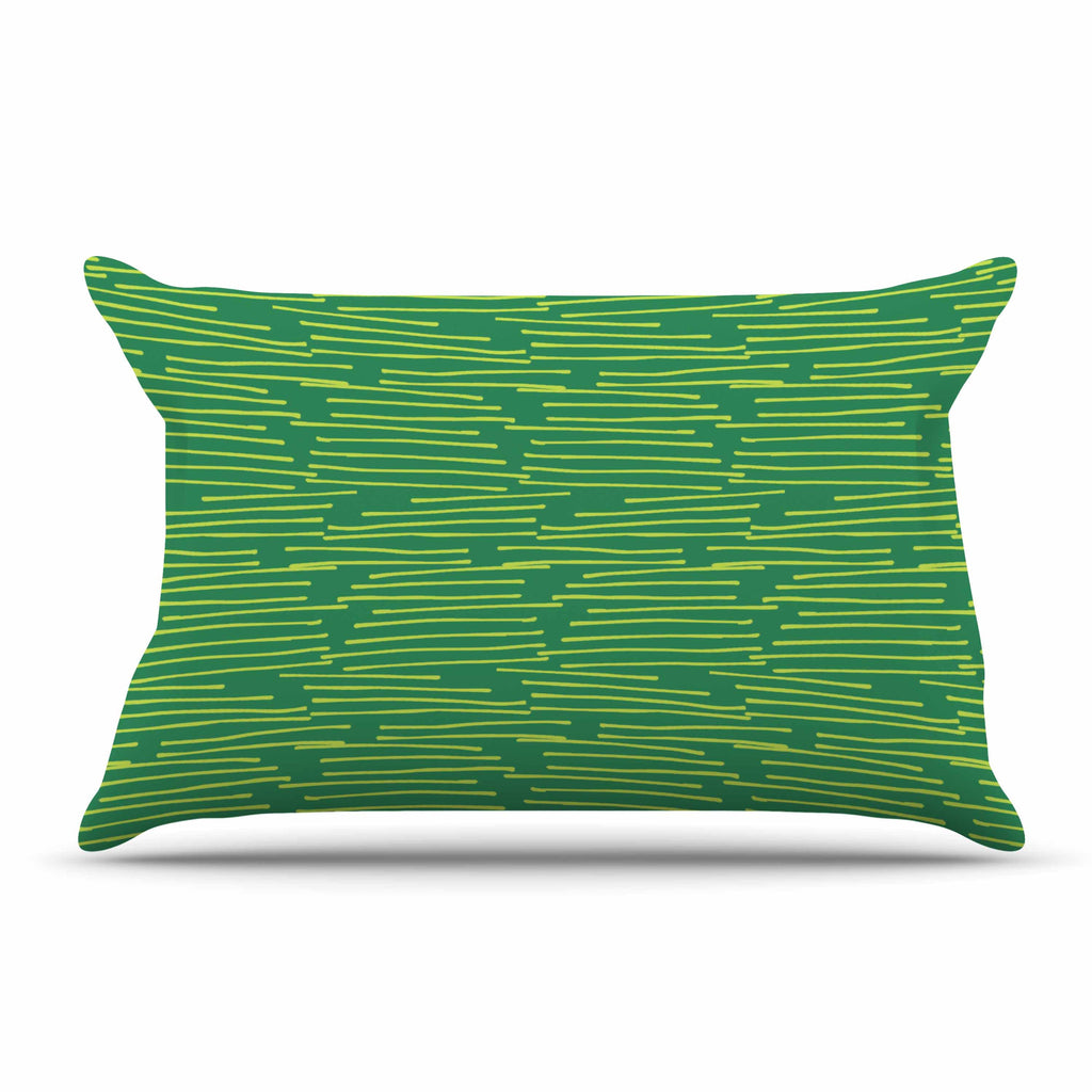"Holly Helgeson ""Twiggy"" Green Line Pillow Sham - KESS InHouse"