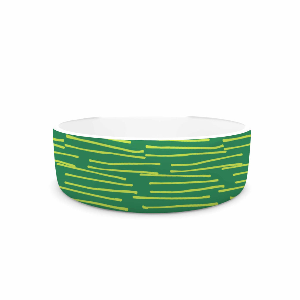 "Holly Helgeson ""Twiggy"" Green Line Pet Bowl - KESS InHouse"