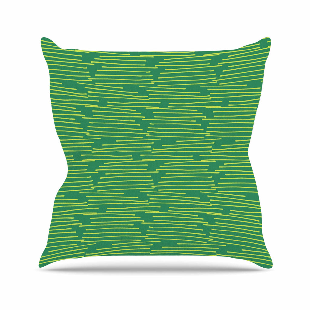 "Holly Helgeson ""Twiggy"" Green Line Throw Pillow - KESS InHouse  - 1"