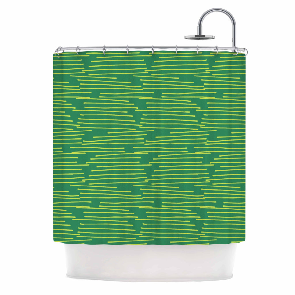 "Holly Helgeson ""Twiggy"" Green Line Shower Curtain - KESS InHouse"