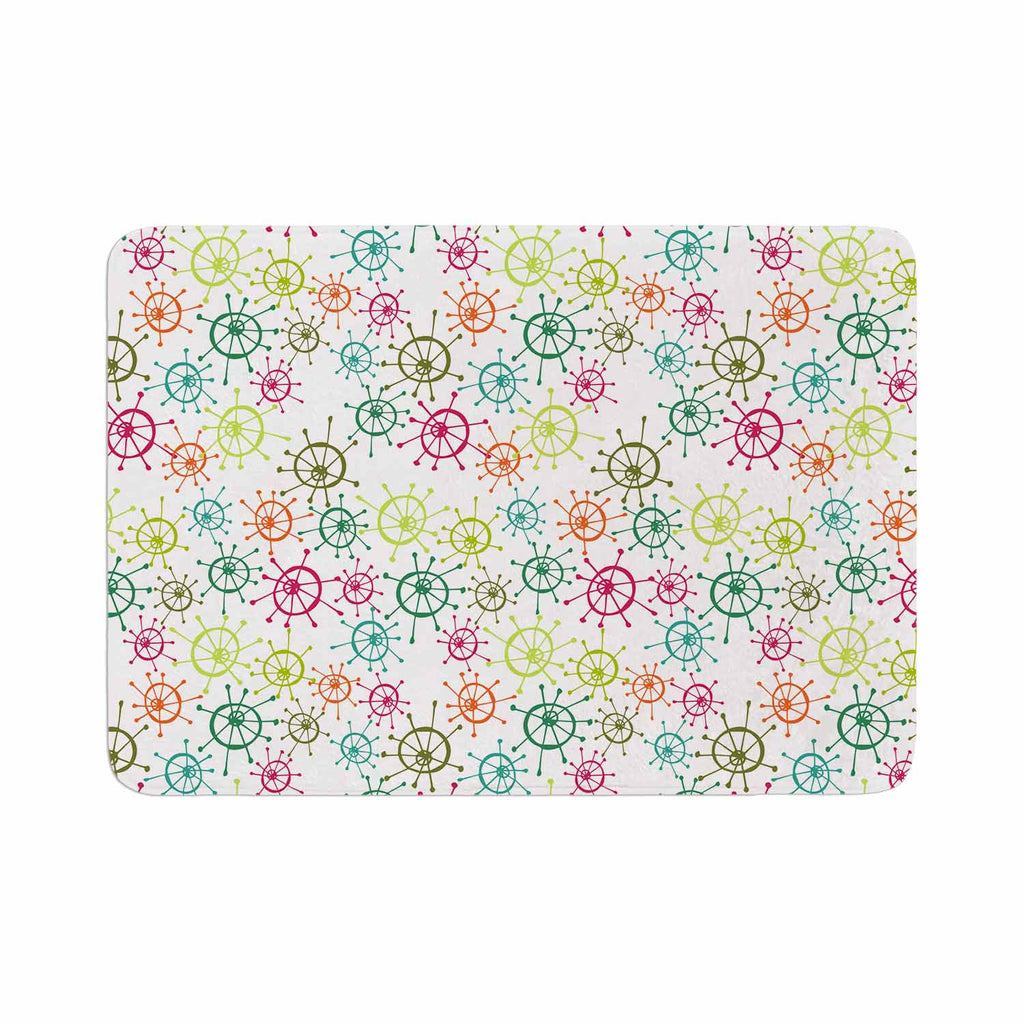 "Holly Helgeson ""Mod Flower Burst"" White Multicolor Memory Foam Bath Mat - KESS InHouse"
