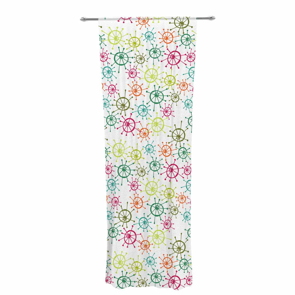 "Holly Helgeson ""Mod Flower Burst"" White Multicolor Decorative Sheer Curtain - KESS InHouse  - 1"