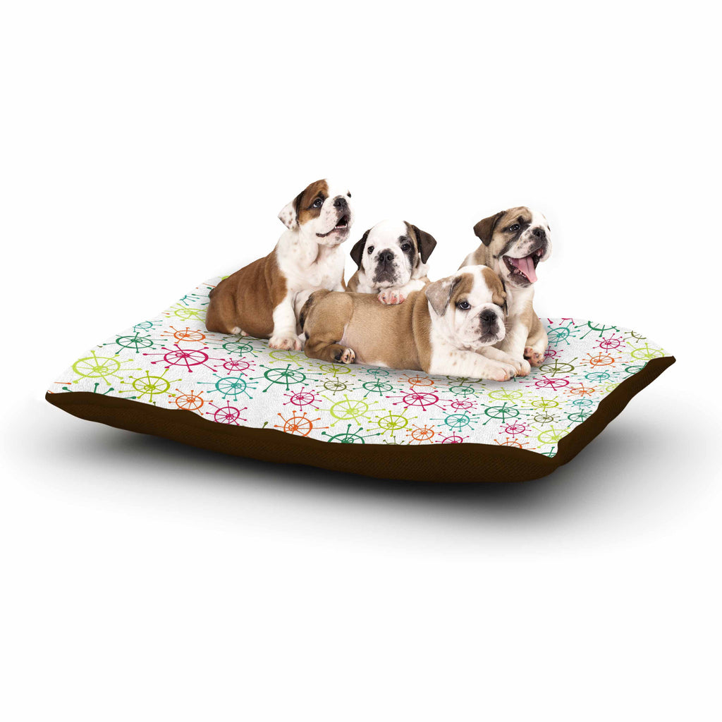 "Holly Helgeson ""Mod Flower Burst"" White Multicolor Dog Bed - KESS InHouse  - 1"