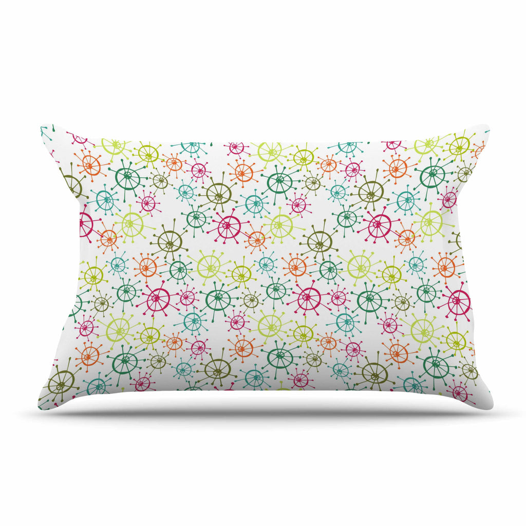"Holly Helgeson ""Mod Flower Burst"" White Multicolor Pillow Sham - KESS InHouse"