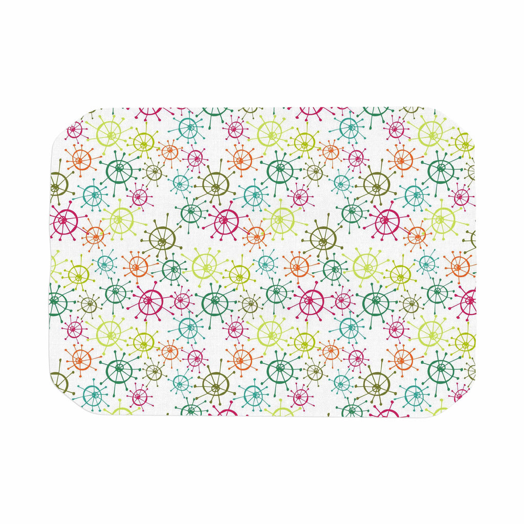 "Holly Helgeson ""Mod Flower Burst"" White Multicolor Place Mat - KESS InHouse"