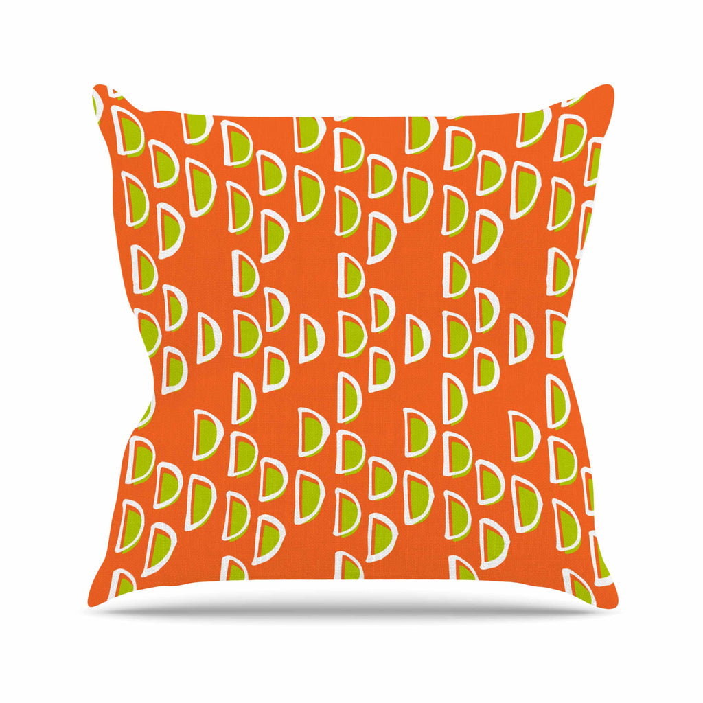 "Holly Helgeson ""Geo Seed"" Orange Outdoor Throw Pillow - KESS InHouse  - 1"