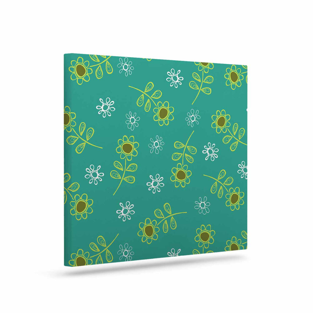 "Holly Helgeson ""Ditsy Daisy"" Teal Canvas Art - KESS InHouse  - 1"