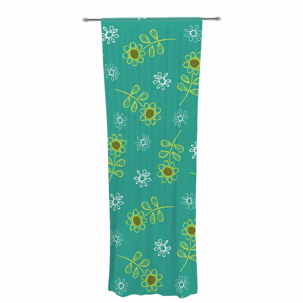 "Holly Helgeson ""Ditsy Daisy"" Teal Decorative Sheer Curtain - KESS InHouse  - 1"