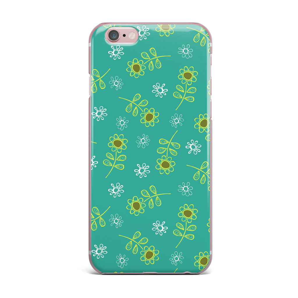 "Holly Helgeson ""Ditsy Daisy"" Teal iPhone Case - KESS InHouse"