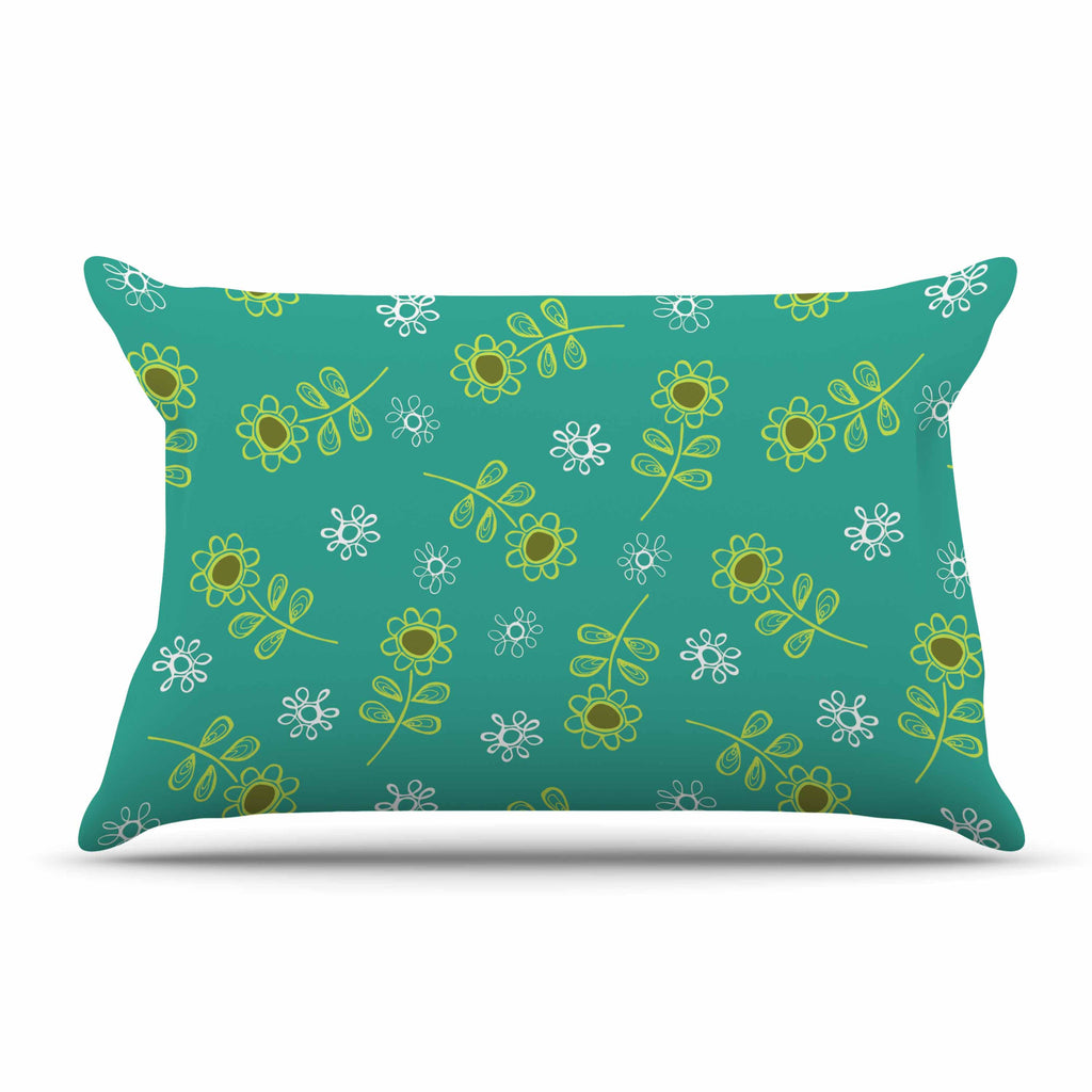 "Holly Helgeson ""Ditsy Daisy"" Teal Pillow Sham - KESS InHouse"