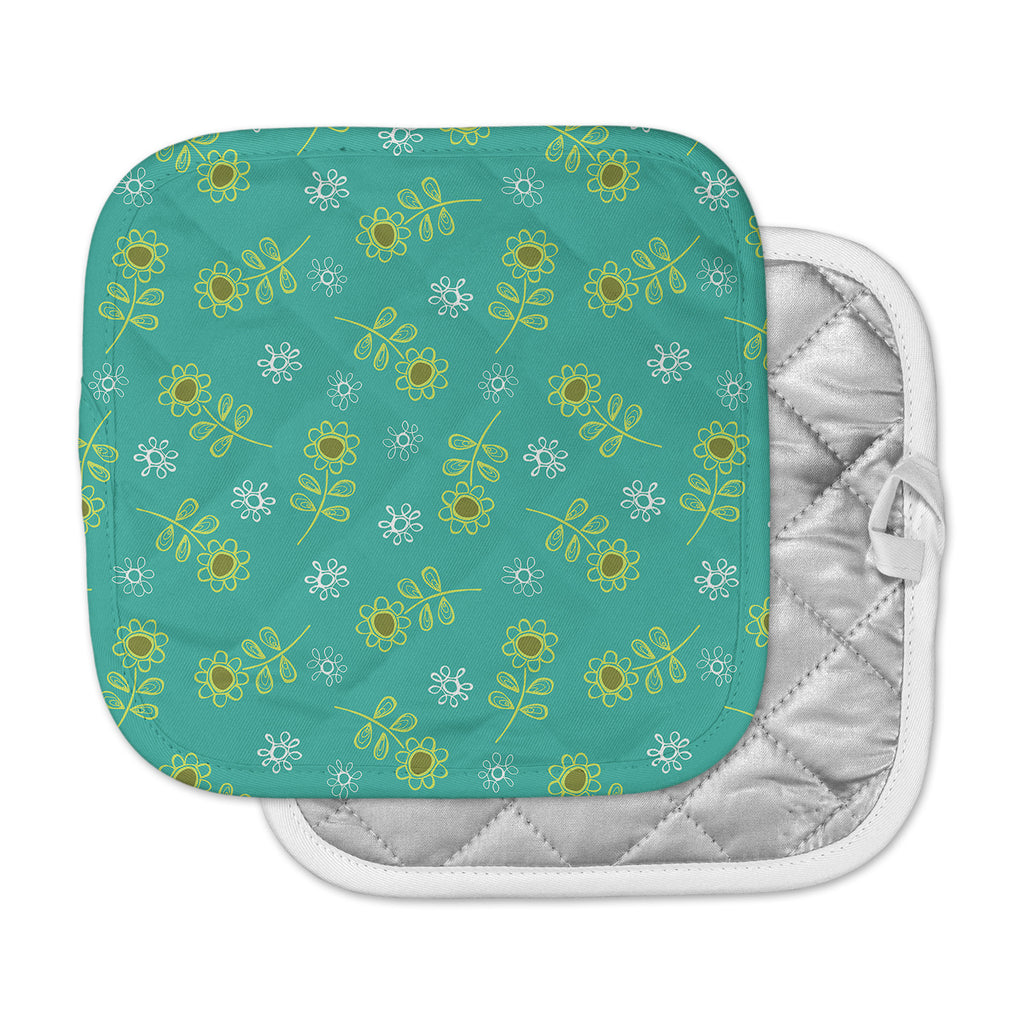 "Holly Helgeson ""Ditsy Daisy"" Teal Pot Holder"