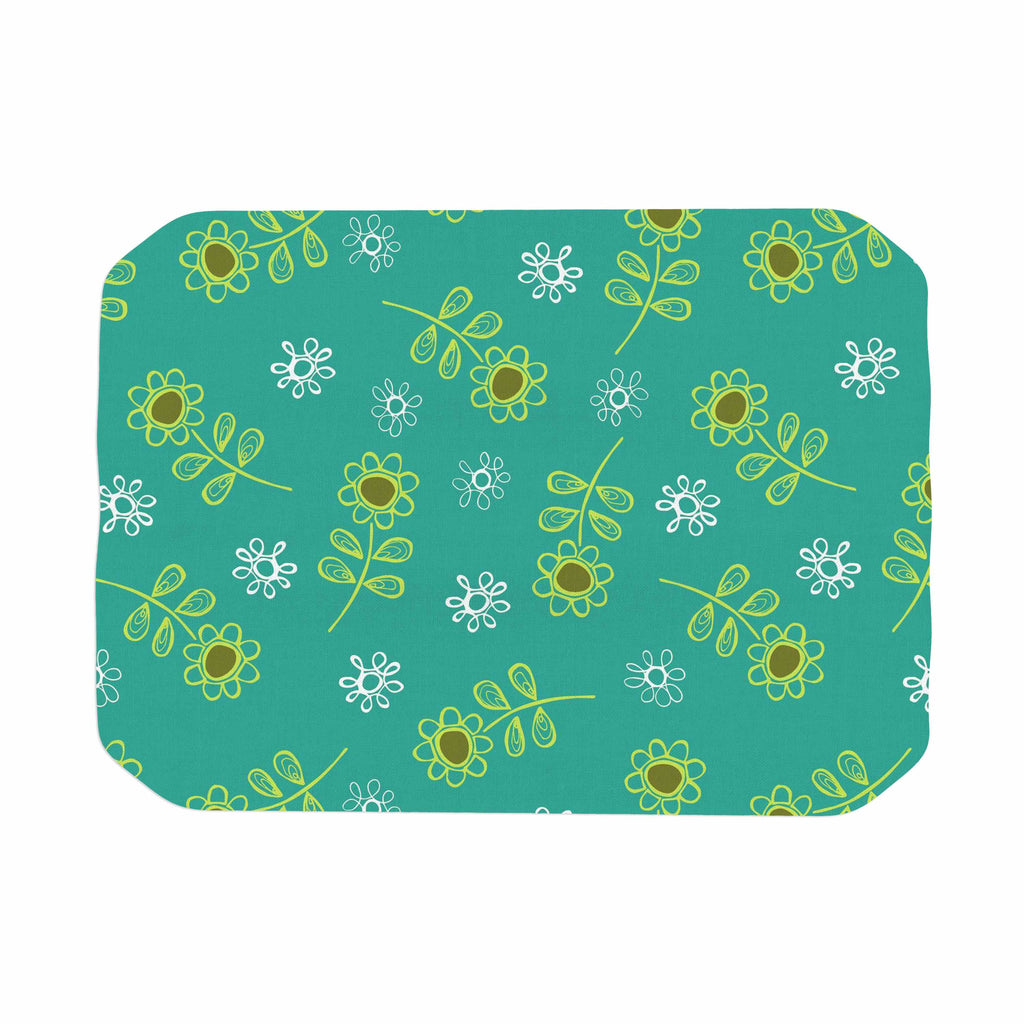 "Holly Helgeson ""Ditsy Daisy"" Teal Place Mat - KESS InHouse"