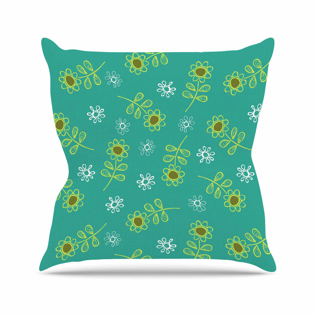 "Holly Helgeson ""Ditsy Daisy"" Teal Outdoor Throw Pillow - KESS InHouse  - 1"