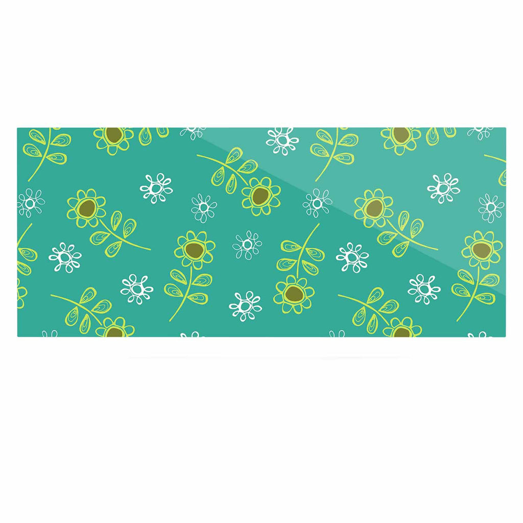 "Holly Helgeson ""Ditsy Daisy"" Teal Luxe Rectangle Panel - KESS InHouse  - 1"