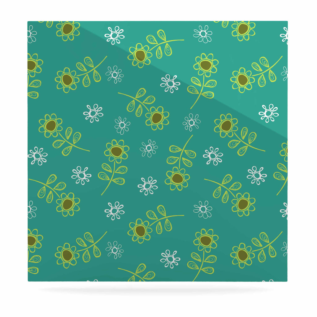 "Holly Helgeson ""Ditsy Daisy"" Teal Luxe Square Panel - KESS InHouse  - 1"