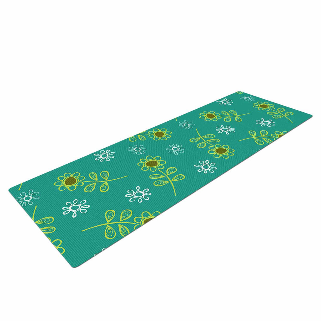 "Holly Helgeson ""Ditsy Daisy"" Teal Yoga Mat - KESS InHouse  - 1"