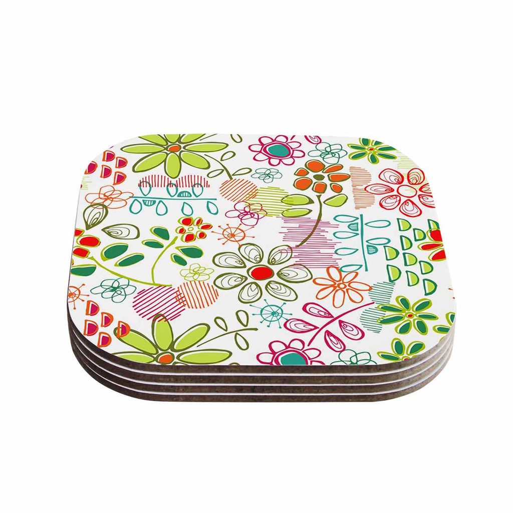"Holly Helgeson ""Wildflower"" White Multicolor Coasters (Set of 4)"