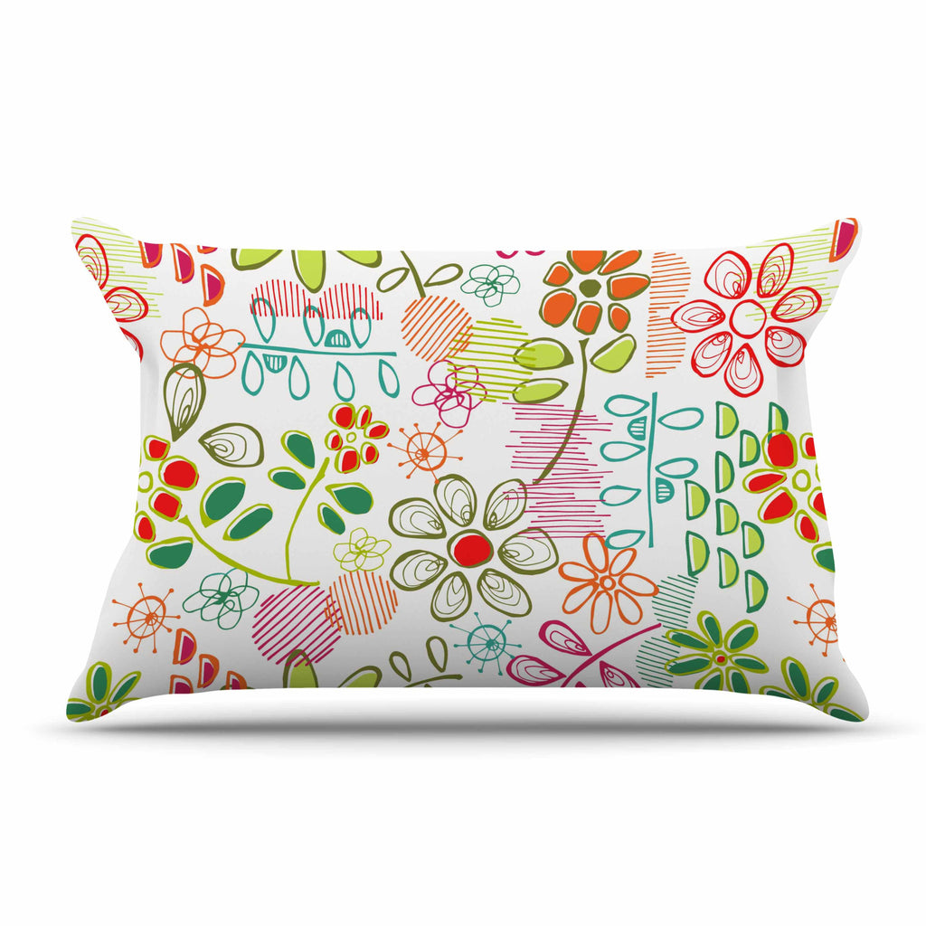 "Holly Helgeson ""Wildflower"" White Multicolor Pillow Sham - KESS InHouse"