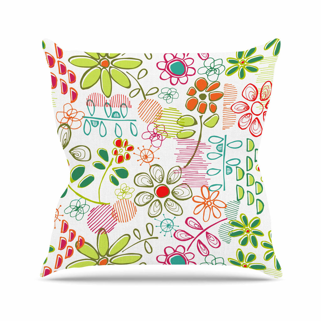"Holly Helgeson ""Wildflower"" White Multicolor Throw Pillow - KESS InHouse  - 1"