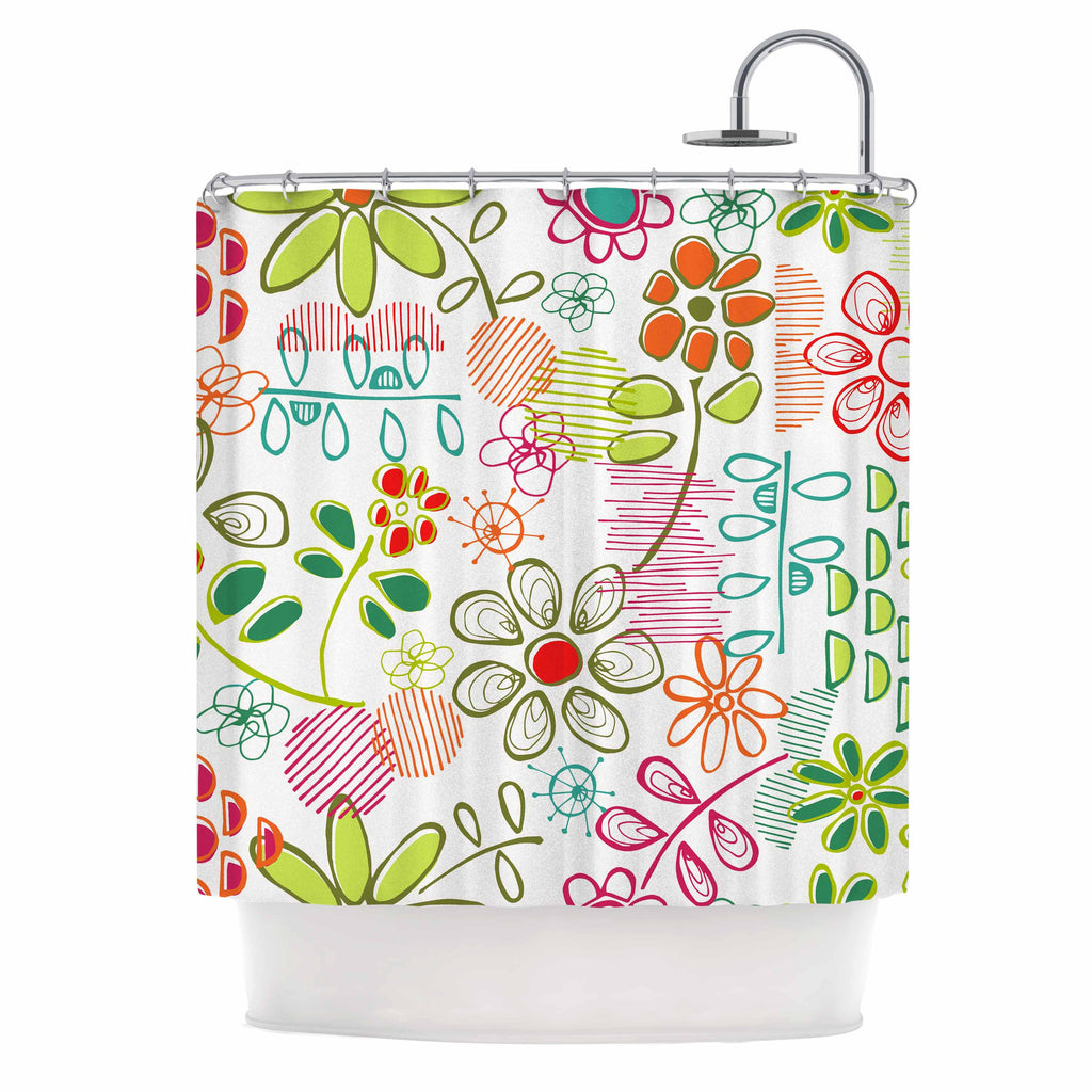 "Holly Helgeson ""Wildflower"" White Multicolor Shower Curtain - KESS InHouse"