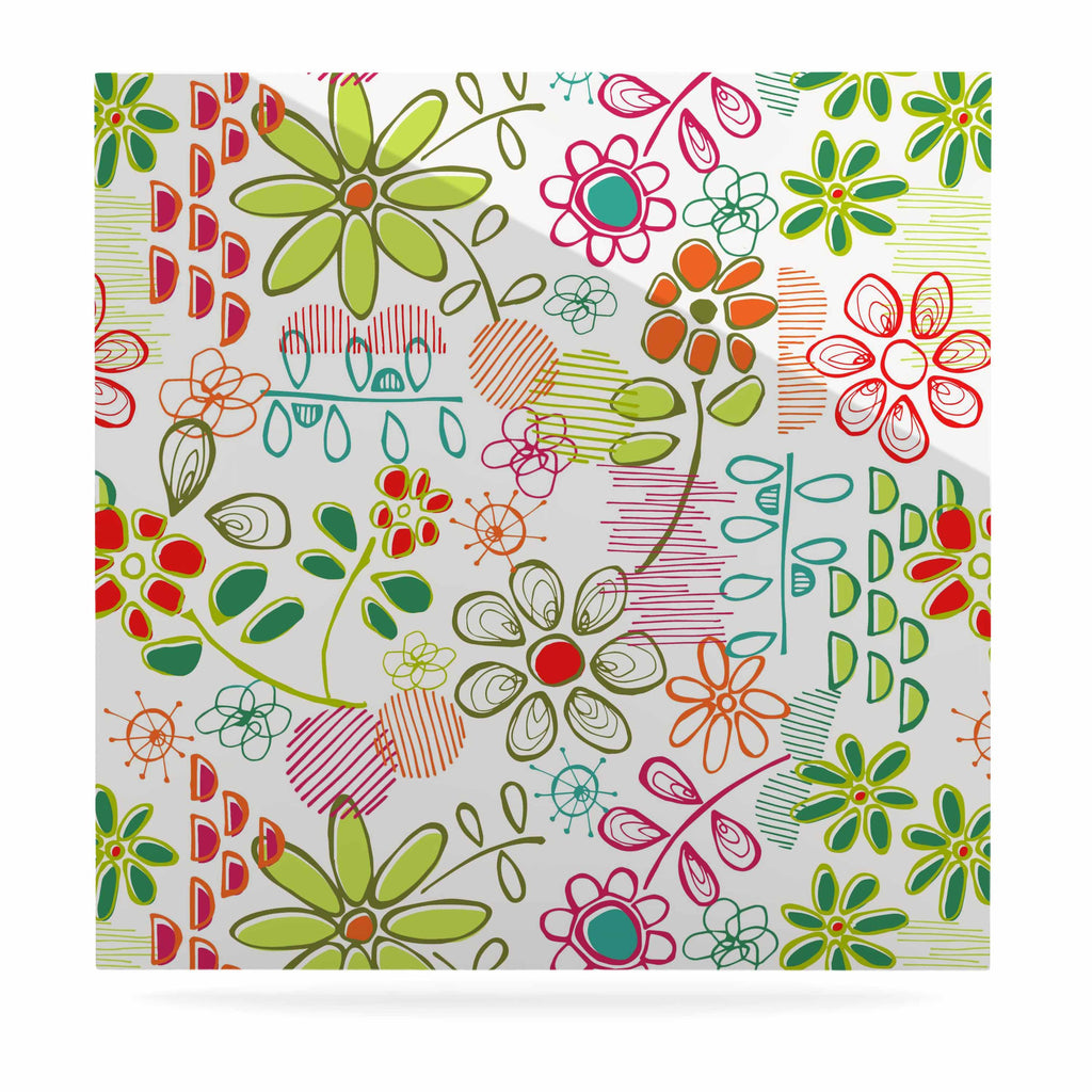 "Holly Helgeson ""Wildflower"" White Multicolor Luxe Square Panel - KESS InHouse  - 1"