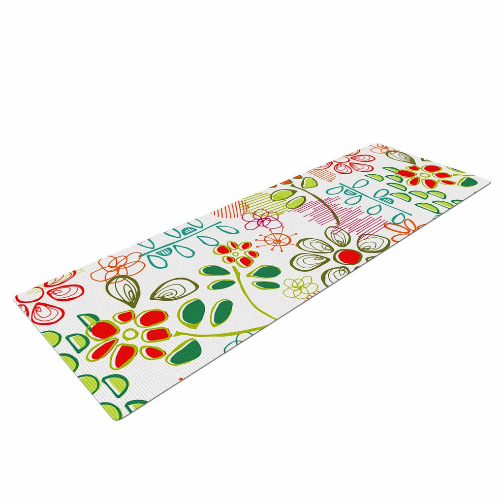 "Holly Helgeson ""Wildflower"" White Multicolor Yoga Mat - KESS InHouse  - 1"