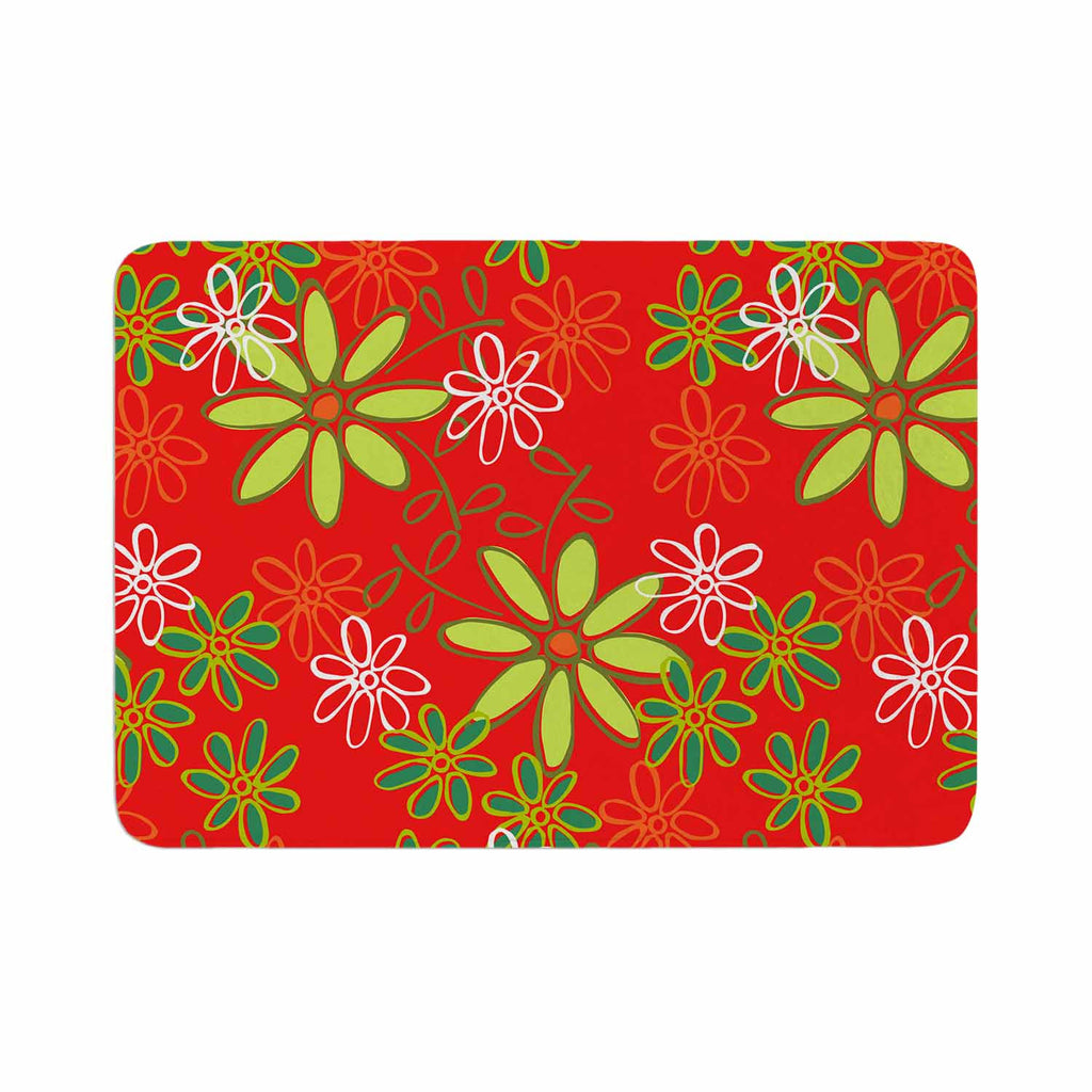"Holly Helgeson ""Daisy Mae"" Red Floral Memory Foam Bath Mat - KESS InHouse"