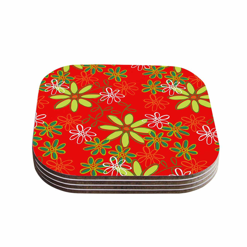 "Holly Helgeson ""Daisy Mae"" Red Floral Coasters (Set of 4)"