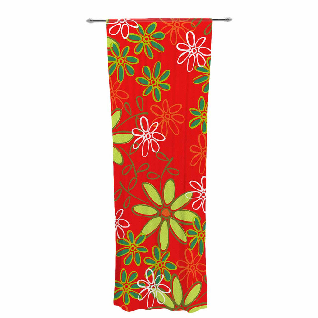 "Holly Helgeson ""Daisy Mae"" Red Floral Decorative Sheer Curtain - KESS InHouse  - 1"