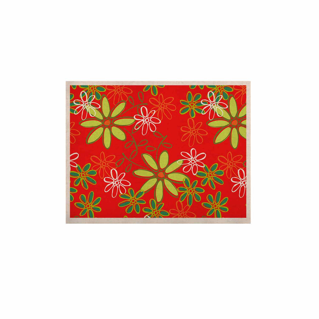 "Holly Helgeson ""Daisy Mae"" Red Floral KESS Naturals Canvas (Frame not Included) - KESS InHouse  - 1"
