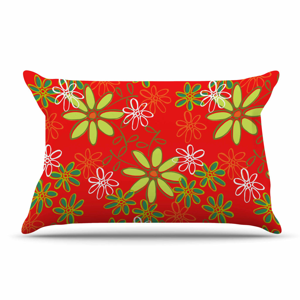"Holly Helgeson ""Daisy Mae"" Red Floral Pillow Sham - KESS InHouse"