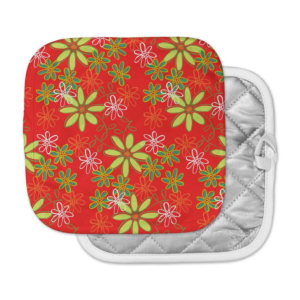 "Holly Helgeson ""Daisy Mae"" Red Floral Pot Holder"