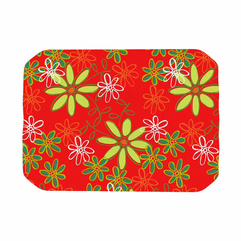 "Holly Helgeson ""Daisy Mae"" Red Floral Place Mat - KESS InHouse"