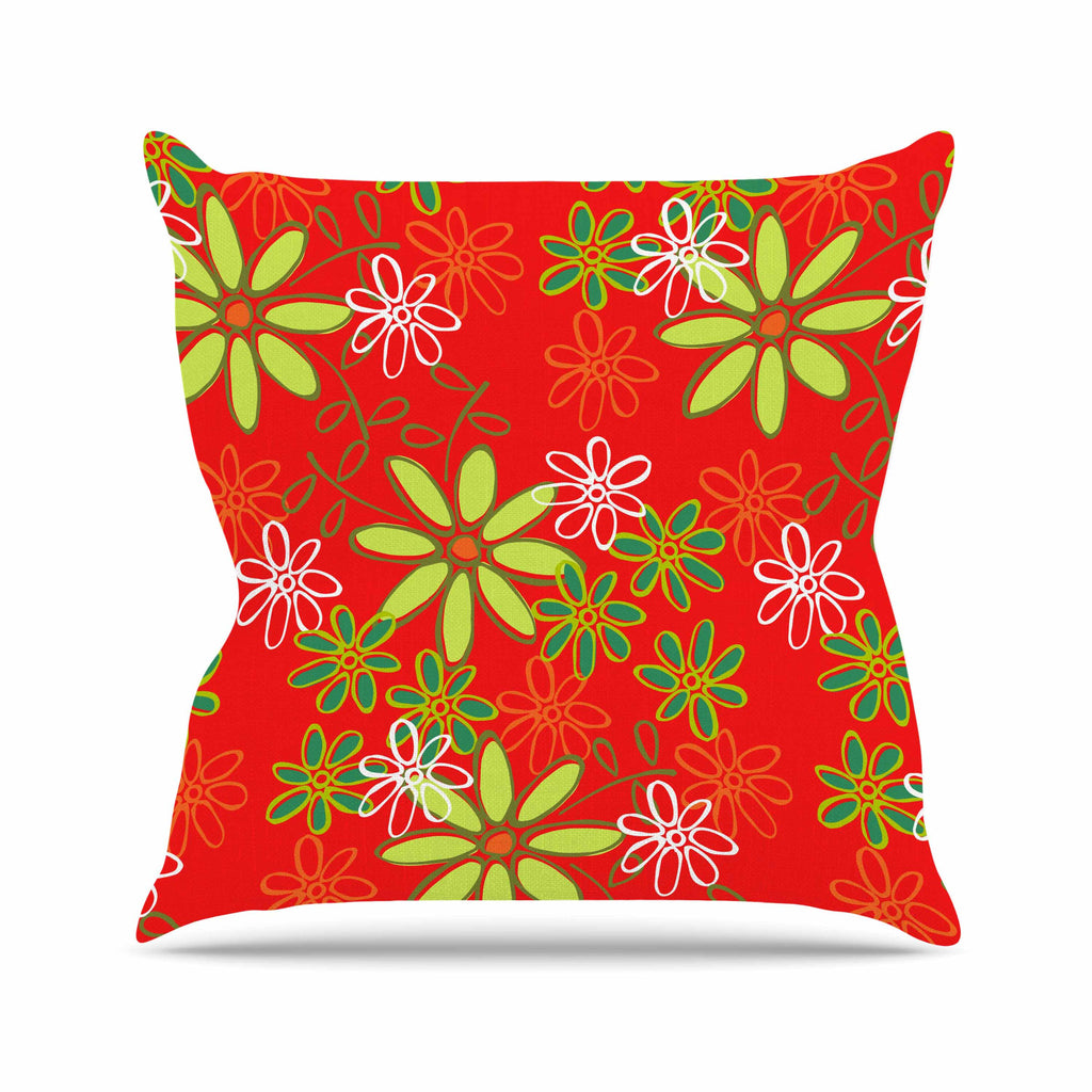 "Holly Helgeson ""Daisy Mae"" Red Floral Throw Pillow - KESS InHouse  - 1"