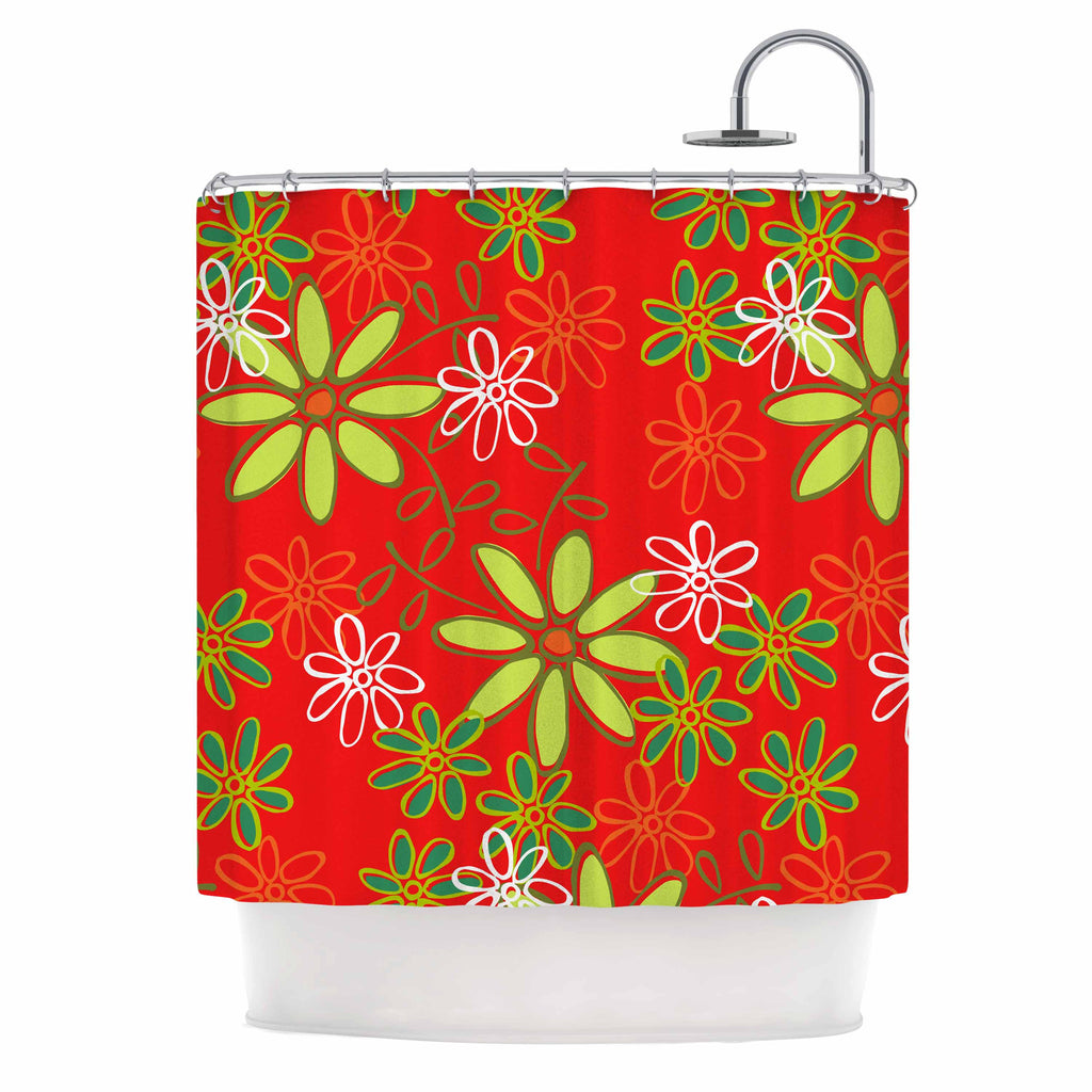 "Holly Helgeson ""Daisy Mae"" Red Floral Shower Curtain - KESS InHouse"