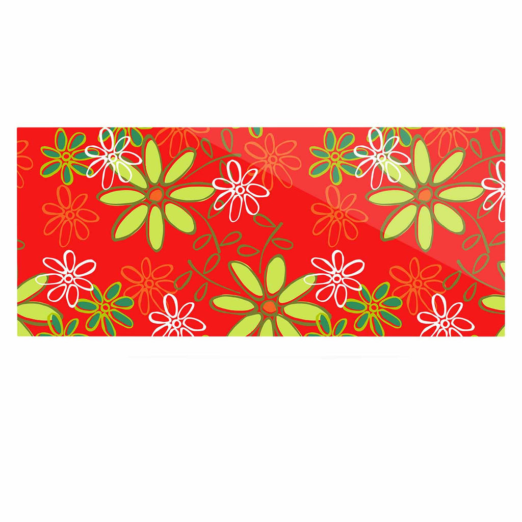 "Holly Helgeson ""Daisy Mae"" Red Floral Luxe Rectangle Panel - KESS InHouse  - 1"