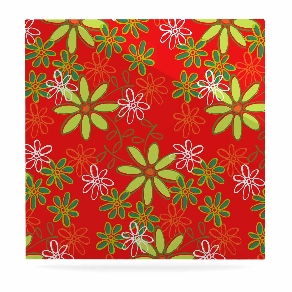 "Holly Helgeson ""Daisy Mae"" Red Floral Luxe Square Panel - KESS InHouse  - 1"