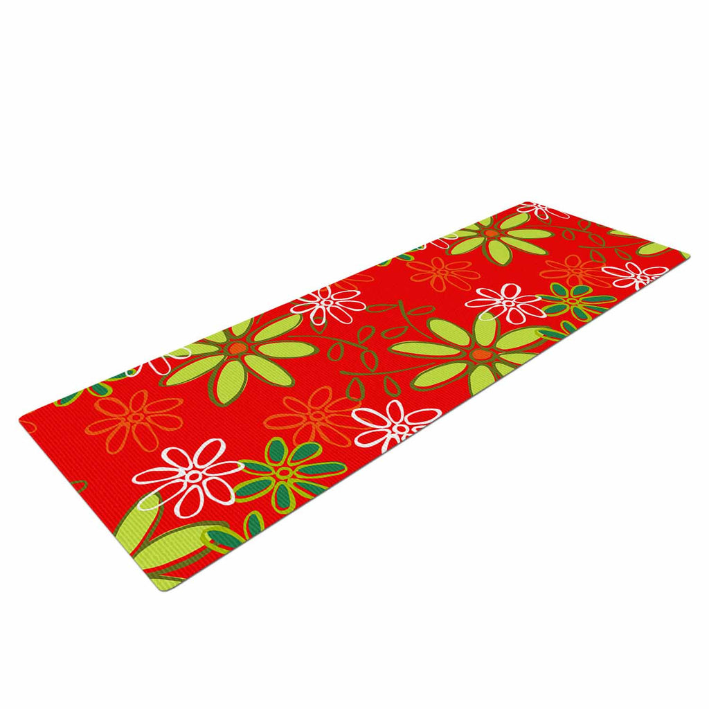 "Holly Helgeson ""Daisy Mae"" Red Floral Yoga Mat - KESS InHouse  - 1"