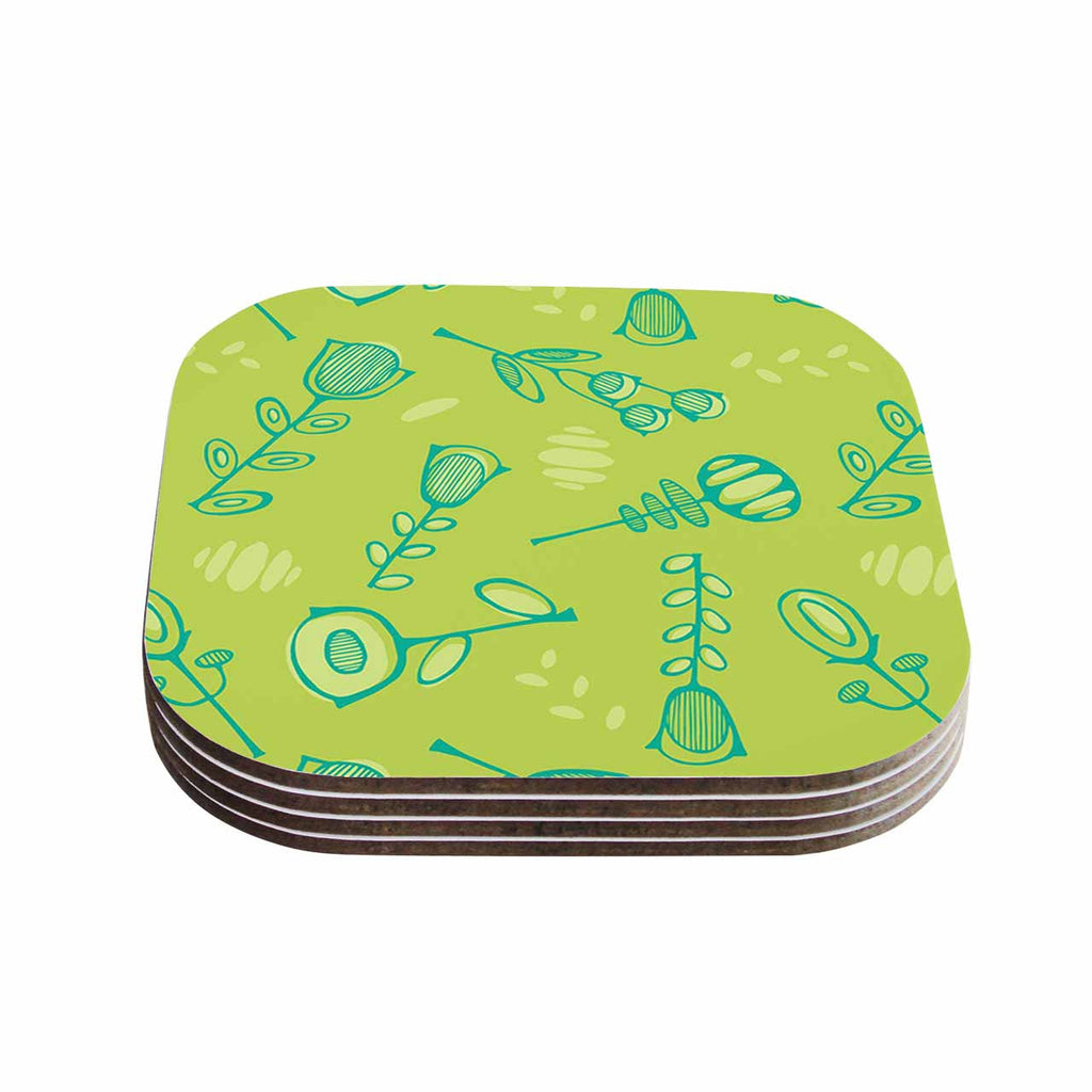 "Holly Helgeson ""Hattie Too"" Green Floral Coasters (Set of 4)"