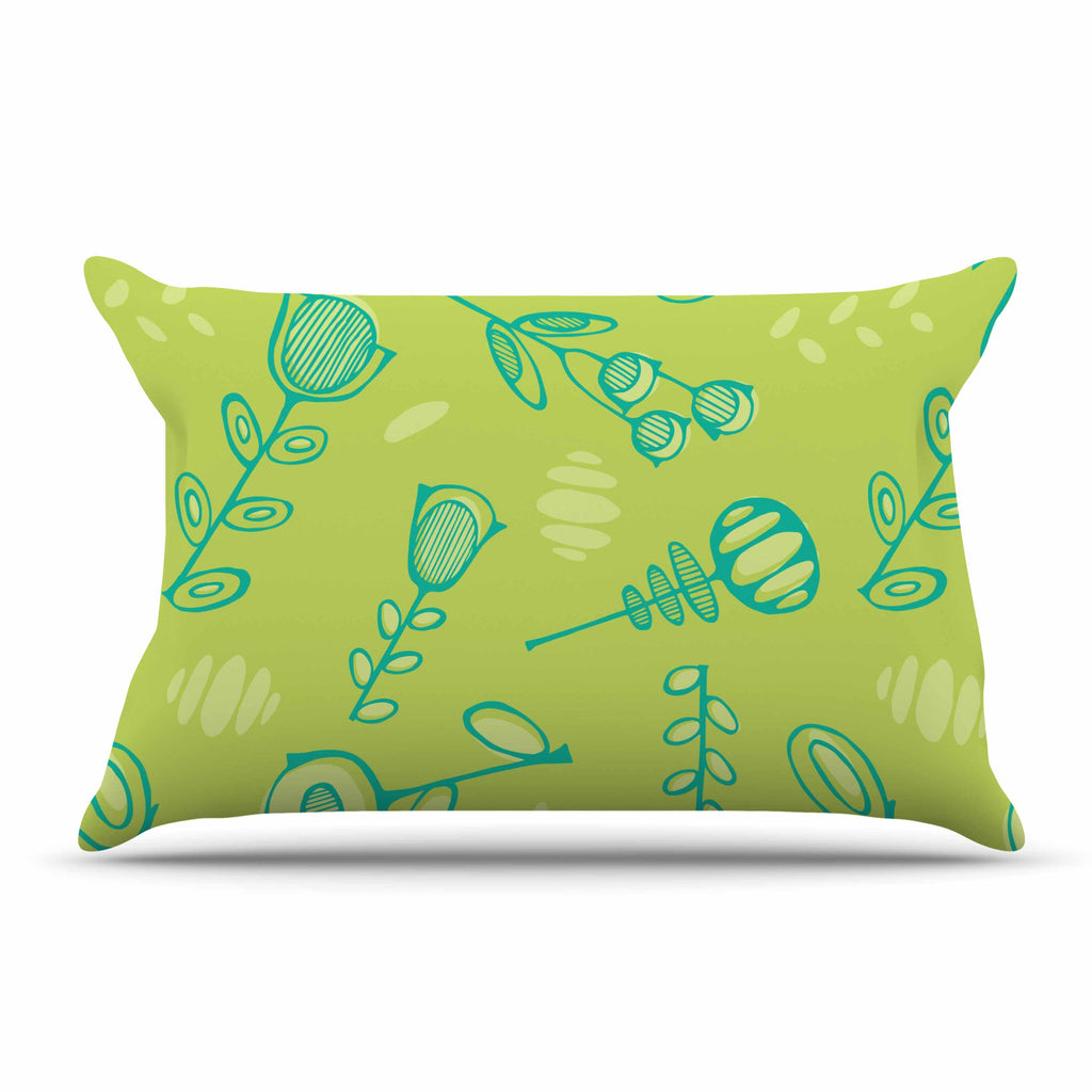 "Holly Helgeson ""Hattie Too"" Green Floral Pillow Sham - KESS InHouse"