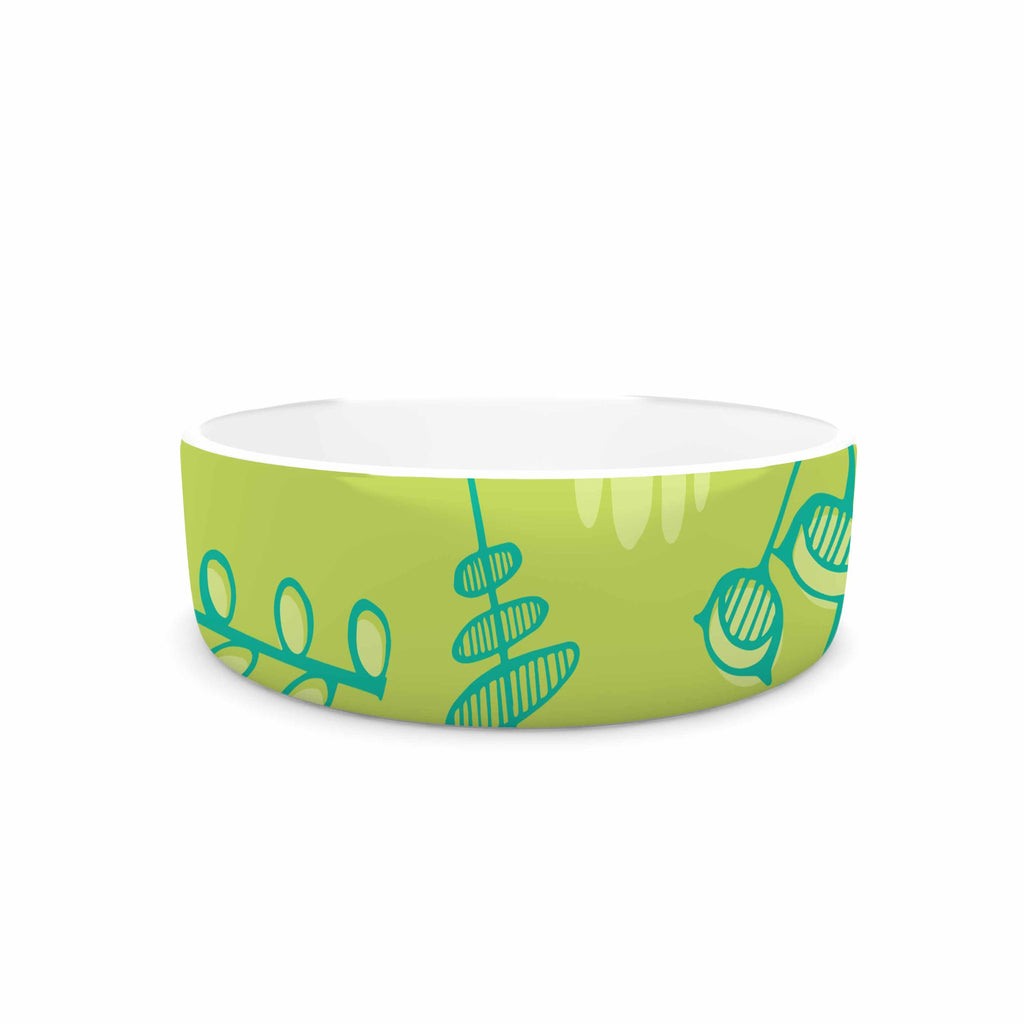 "Holly Helgeson ""Hattie Too"" Green Floral Pet Bowl - KESS InHouse"