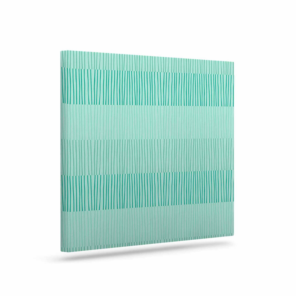 "Holly Helgeson ""Mod Grass"" Teal Lines Canvas Art - KESS InHouse  - 1"