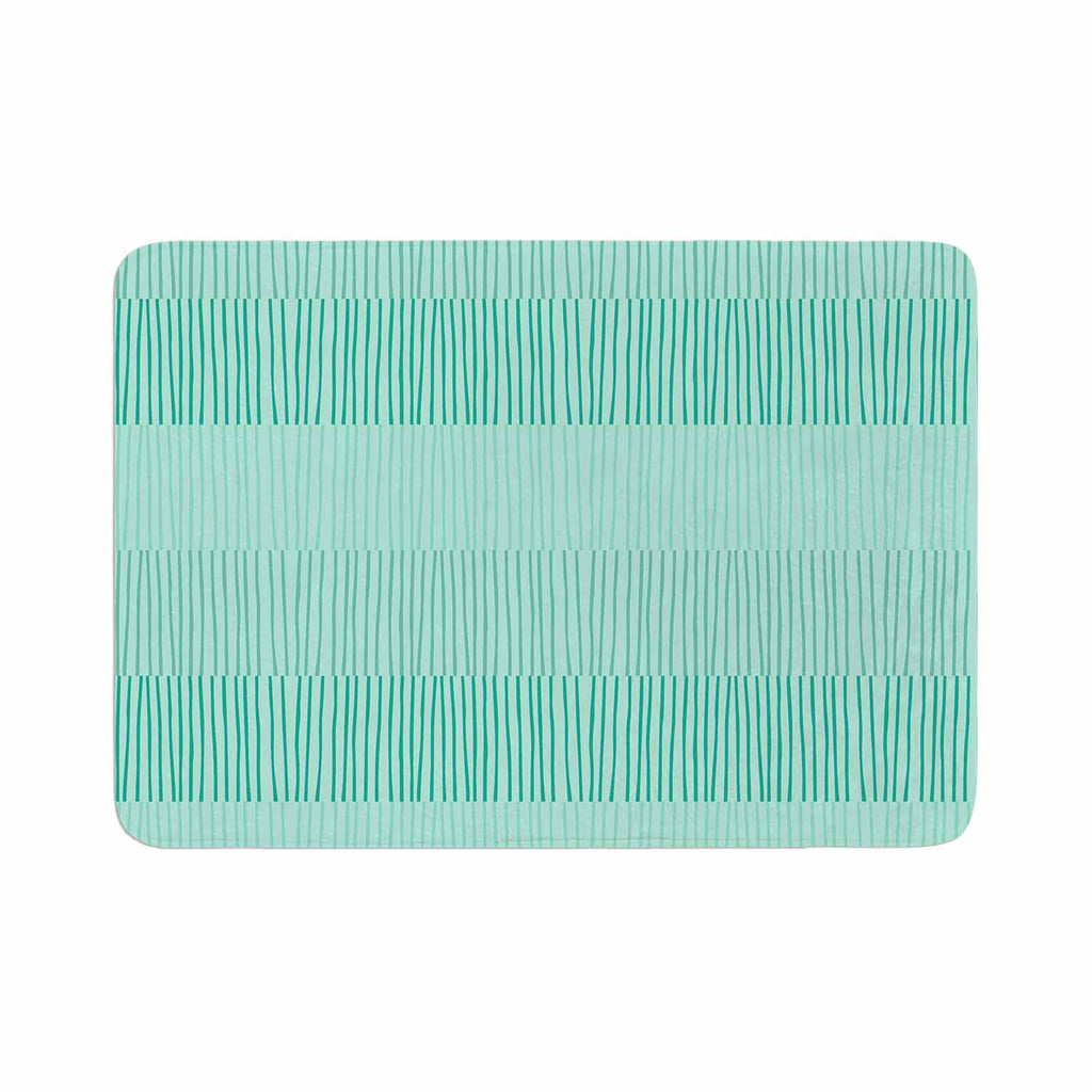 "Holly Helgeson ""Mod Grass"" Teal Lines Memory Foam Bath Mat - KESS InHouse"