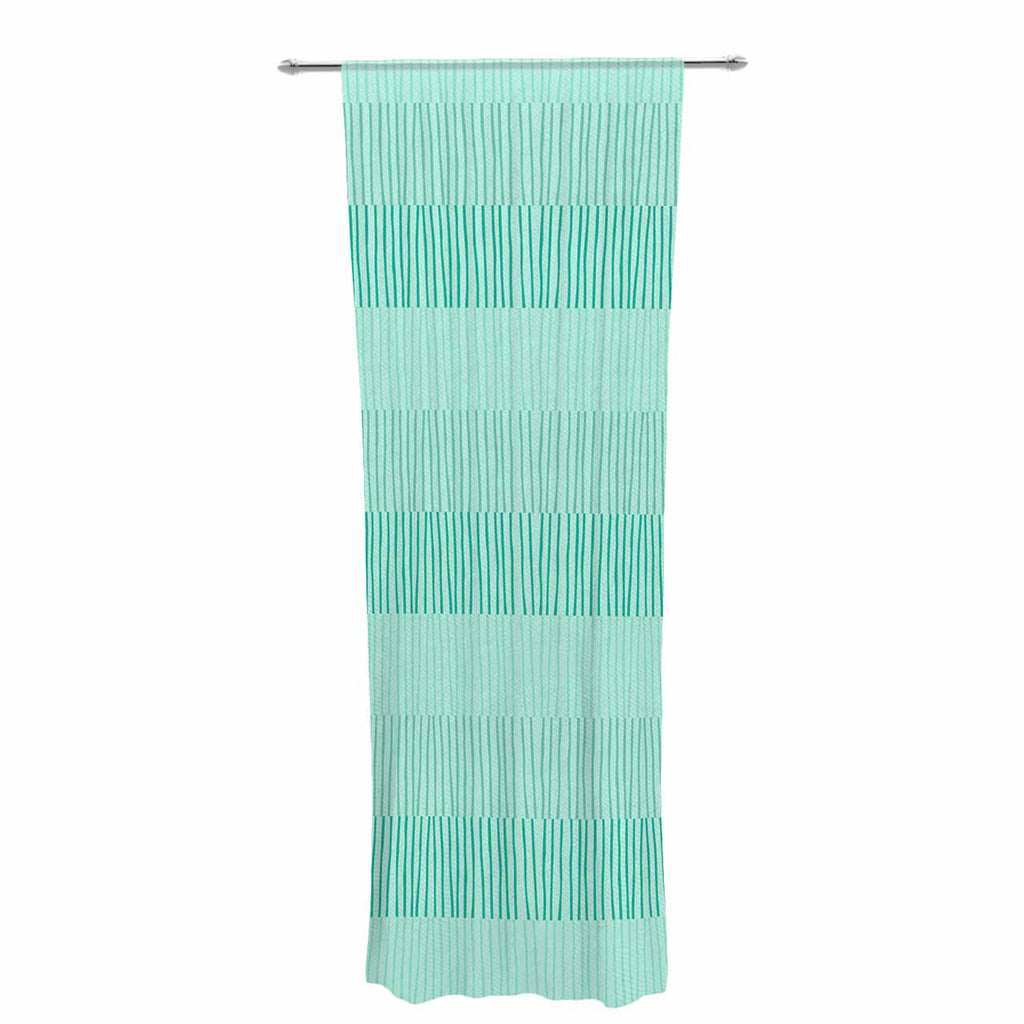 "Holly Helgeson ""Mod Grass"" Teal Lines Decorative Sheer Curtain - KESS InHouse  - 1"