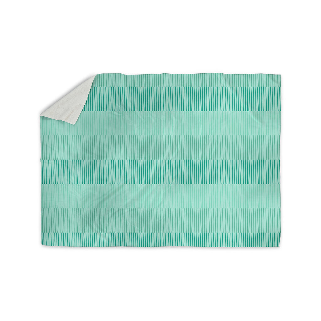"Holly Helgeson ""Mod Grass"" Teal Lines Sherpa Blanket - KESS InHouse  - 1"