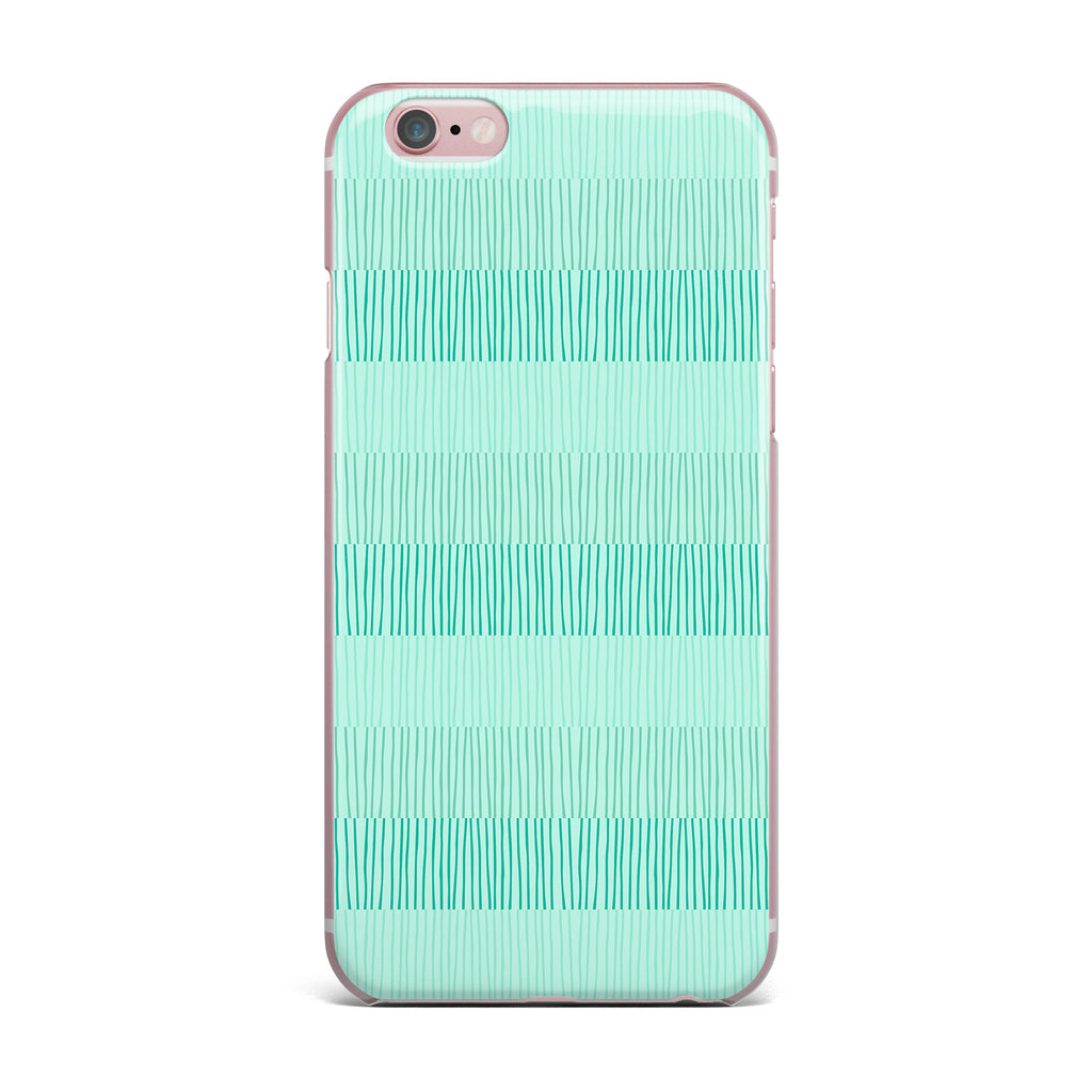 "Holly Helgeson ""Mod Grass"" Teal Lines iPhone Case - KESS InHouse"